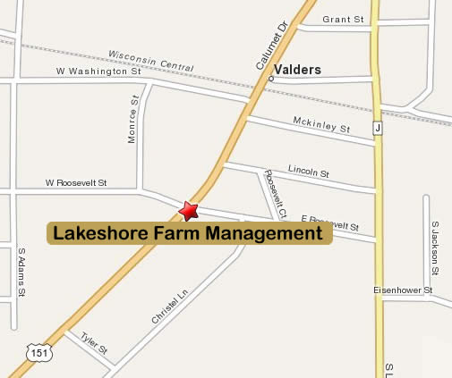 Mapquest Map of Lakeshore Farm Management in Valders, WI